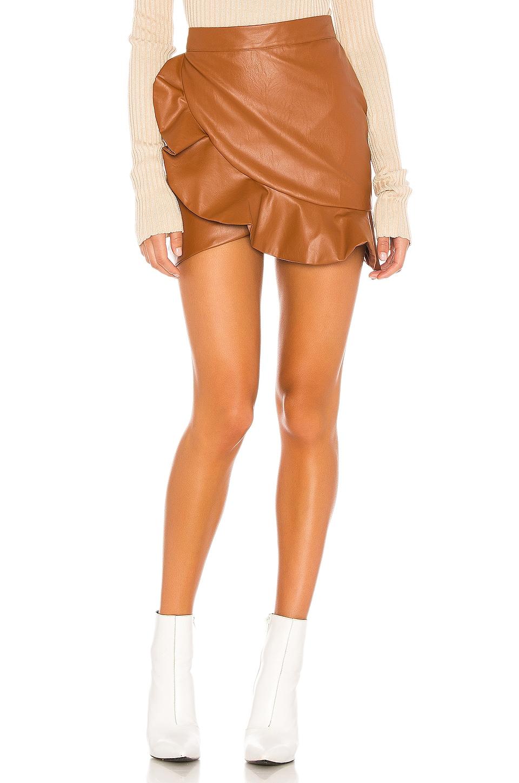 MAJORELLE Poseidon Mini Skirt in Brown Spice