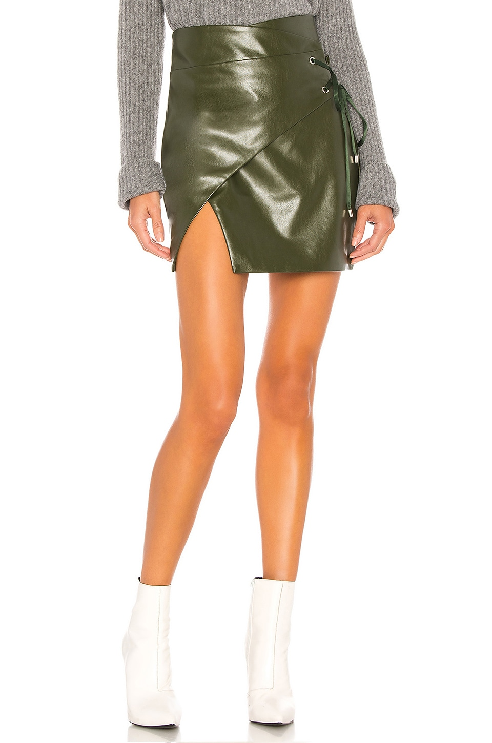 MAJORELLE Hyperion Mini Skirt in Olive Green