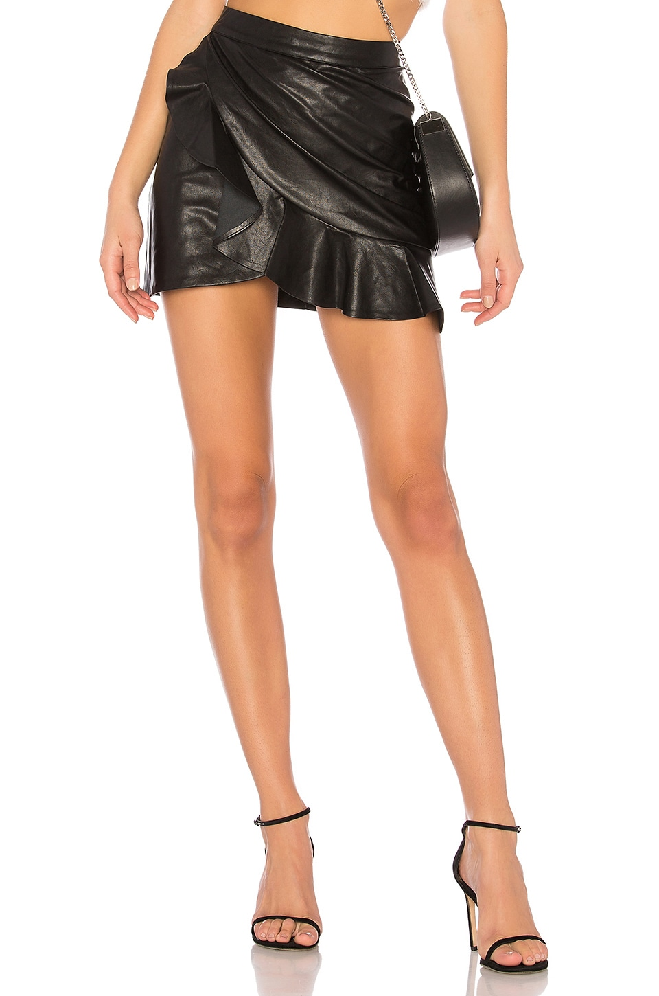 Melissa Zip Up Faux Leather Mini Skirt in Black. - size L (also in M,S,XL,XS,XXS) by the way.