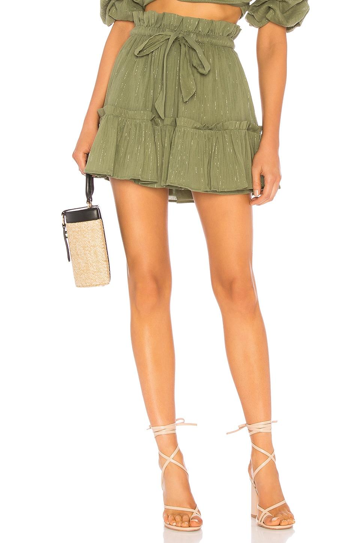 MAJORELLE Charlie Mini Skirt in Jade Green Stripe