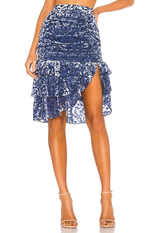 MAJORELLE Gabriela Midi Skirt in Midnight Blue