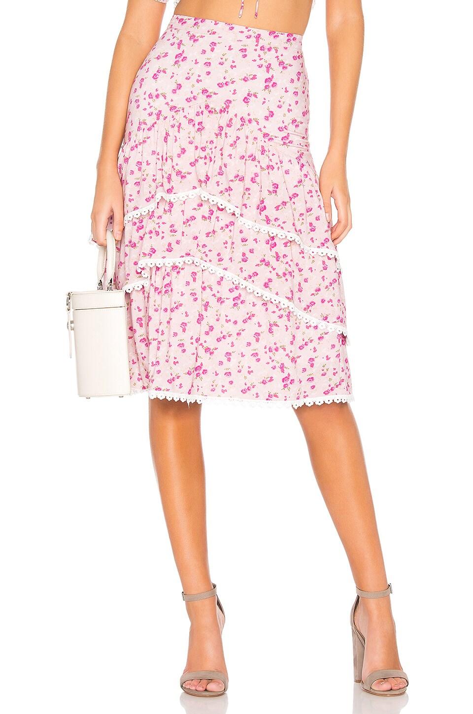 MAJORELLE Carly Midi Skirt in Mauve Ditsy