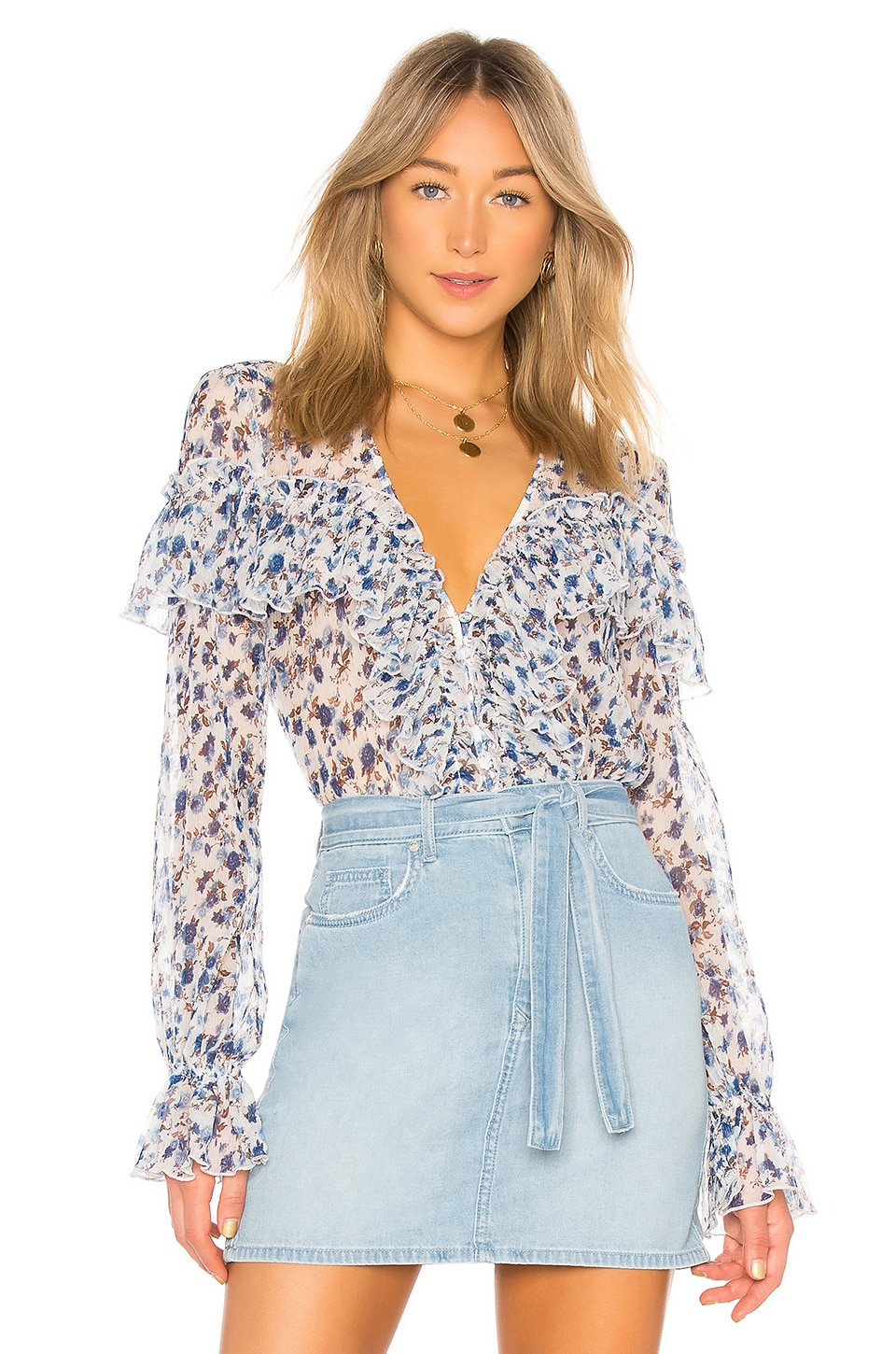 MAJORELLE Mariel Blouse in Misty Blue