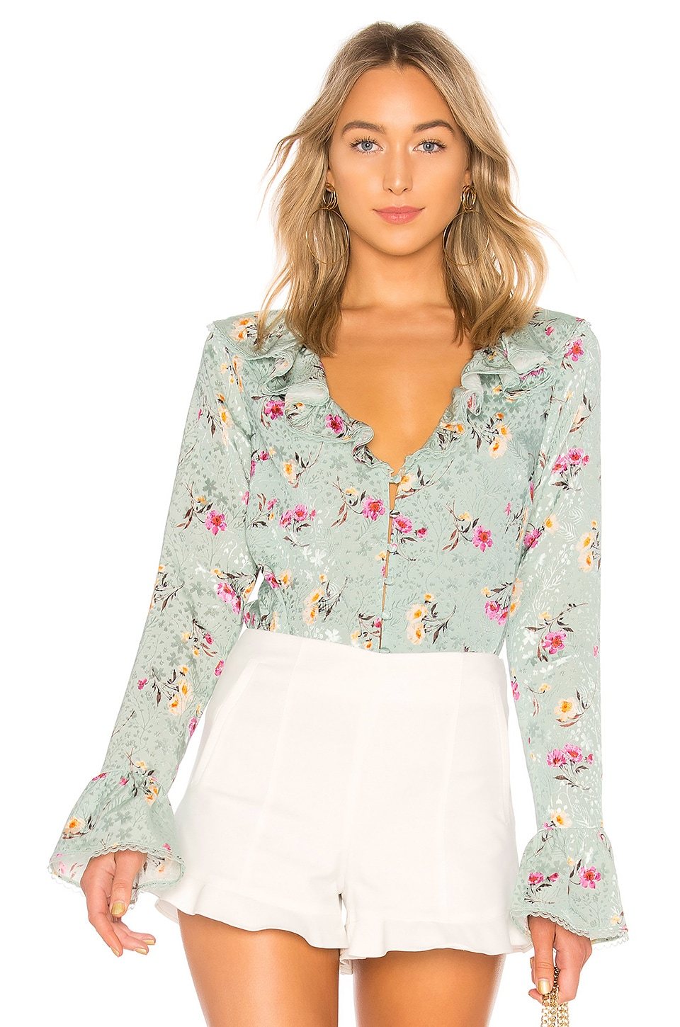 MAJORELLE Fleur Blouse in Green Whisper