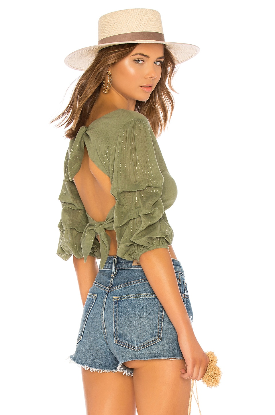 MAJORELLE Gabby Top in Jade Green Stripe