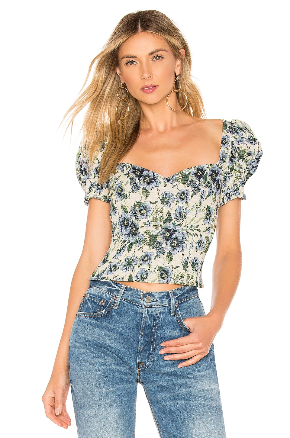 MAJORELLE Angelia Top in Blue Multi
