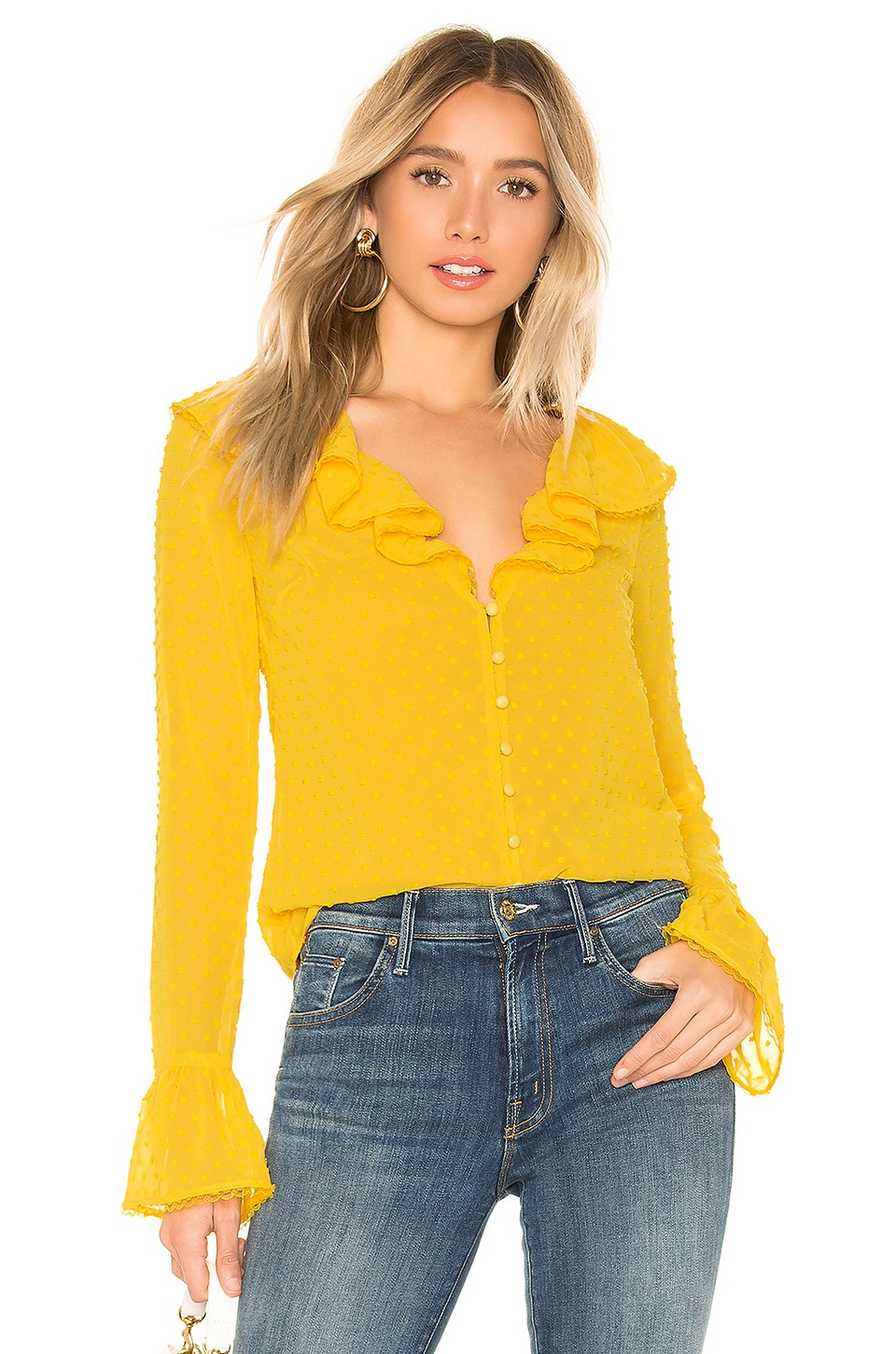 MAJORELLE Fleur Blouse in Sunshine Yellow