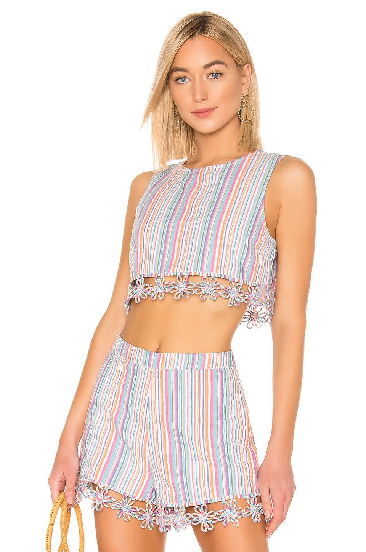 MAJORELLE Melanie Top in Rainbow Stripe