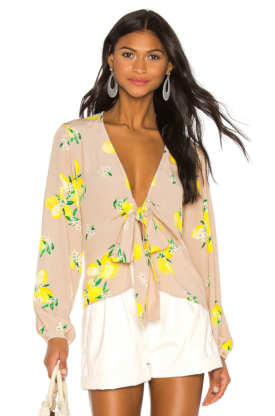MAJORELLE Yara Blouse in Tan Lemon