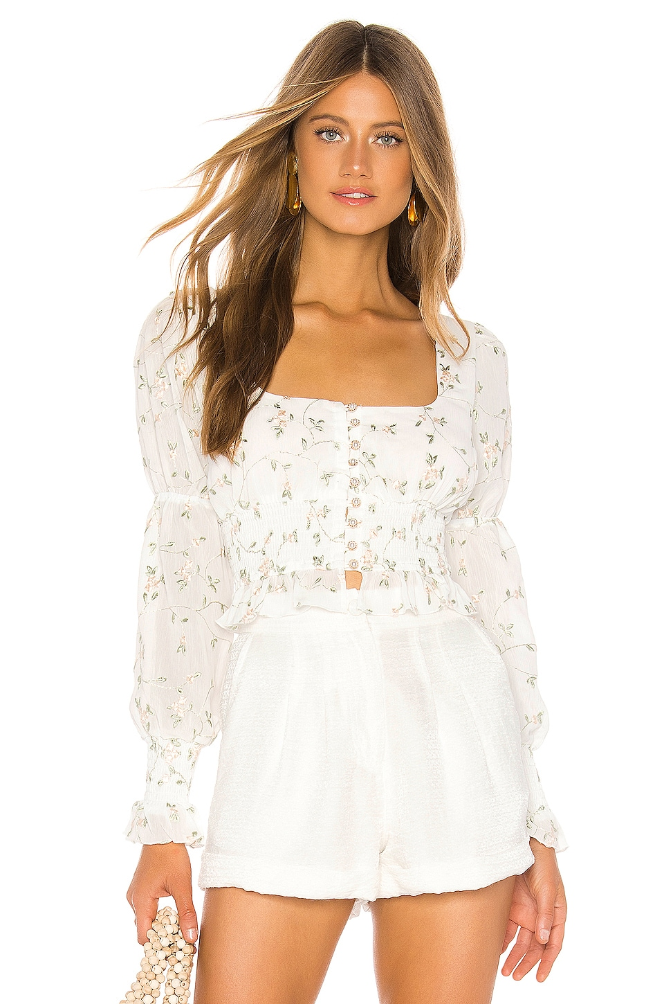 MAJORELLE Emerson Top in White Field