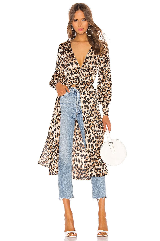 MAJORELLE Amor Maxi Top in Tan Cheetah