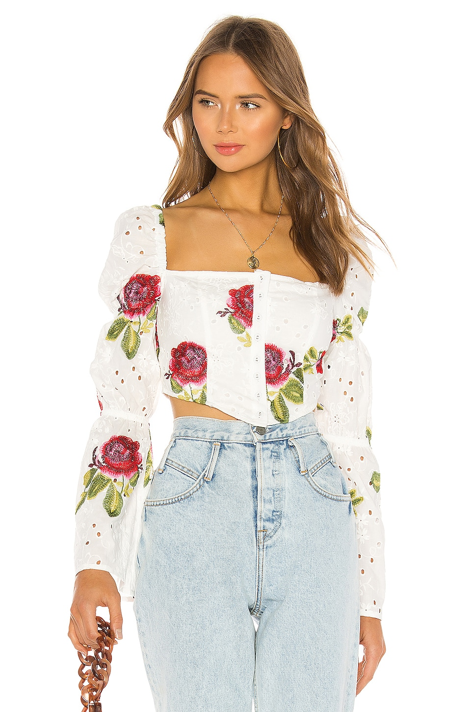 MAJORELLE Finley Top in White & Pink