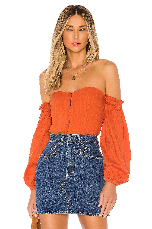 MAJORELLE Betsey Top in Rust Orange