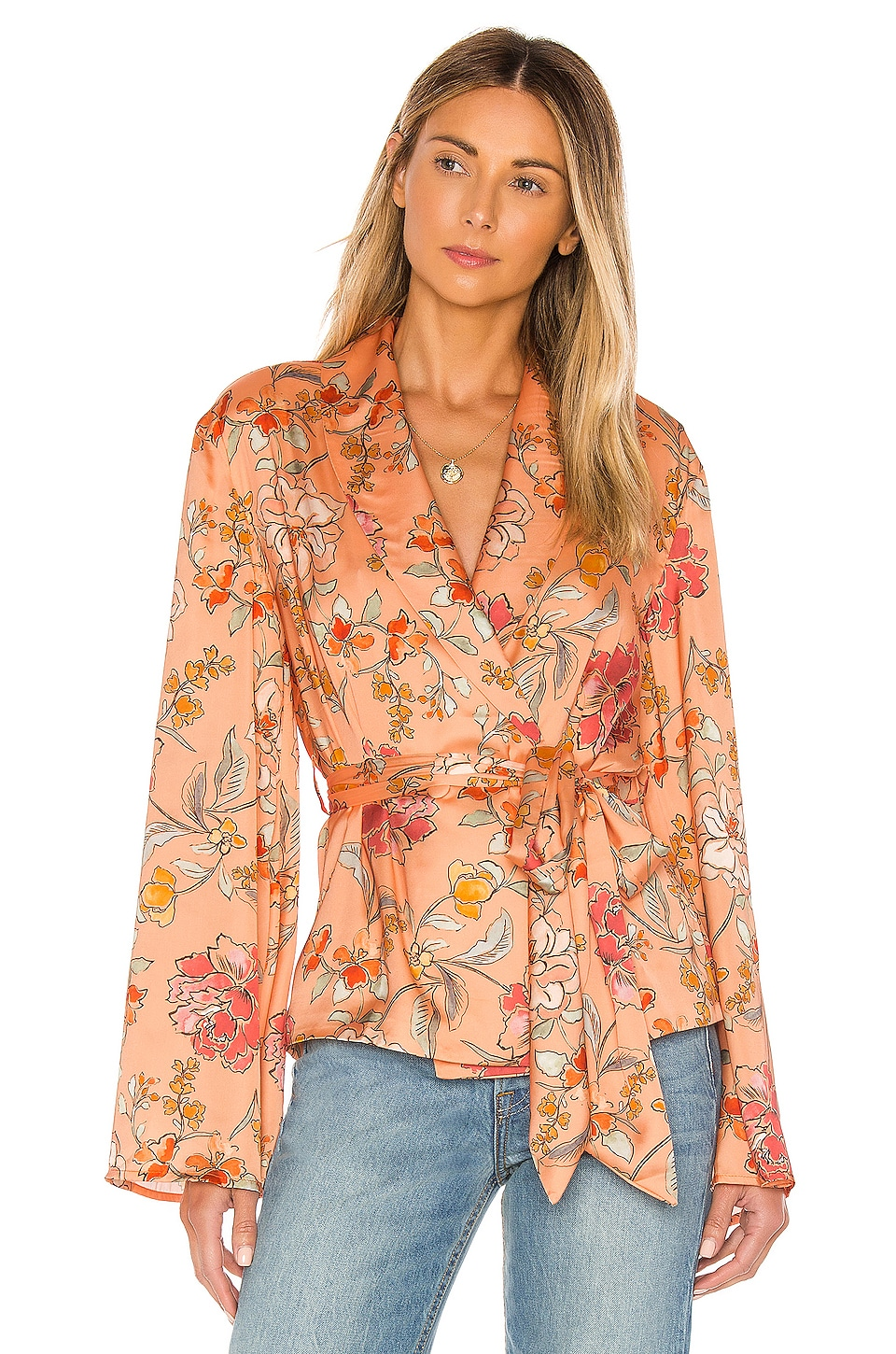 MAJORELLE Angie Kimono Top in Vienna Orange