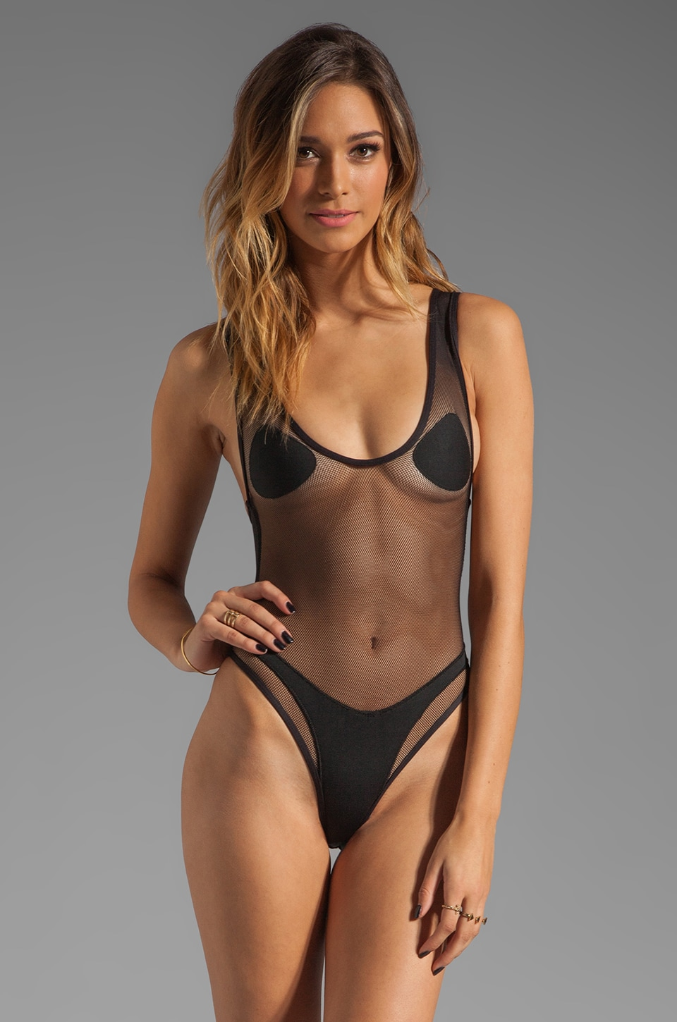 MINIMALE ANIMALE One Piece in Black Sun with Black Sun Mesh