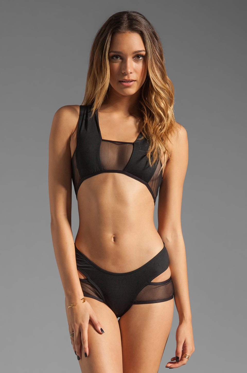 MINIMALE ANIMALE Stephanie Deux One Piece in Black Sun with Black Sun Mesh