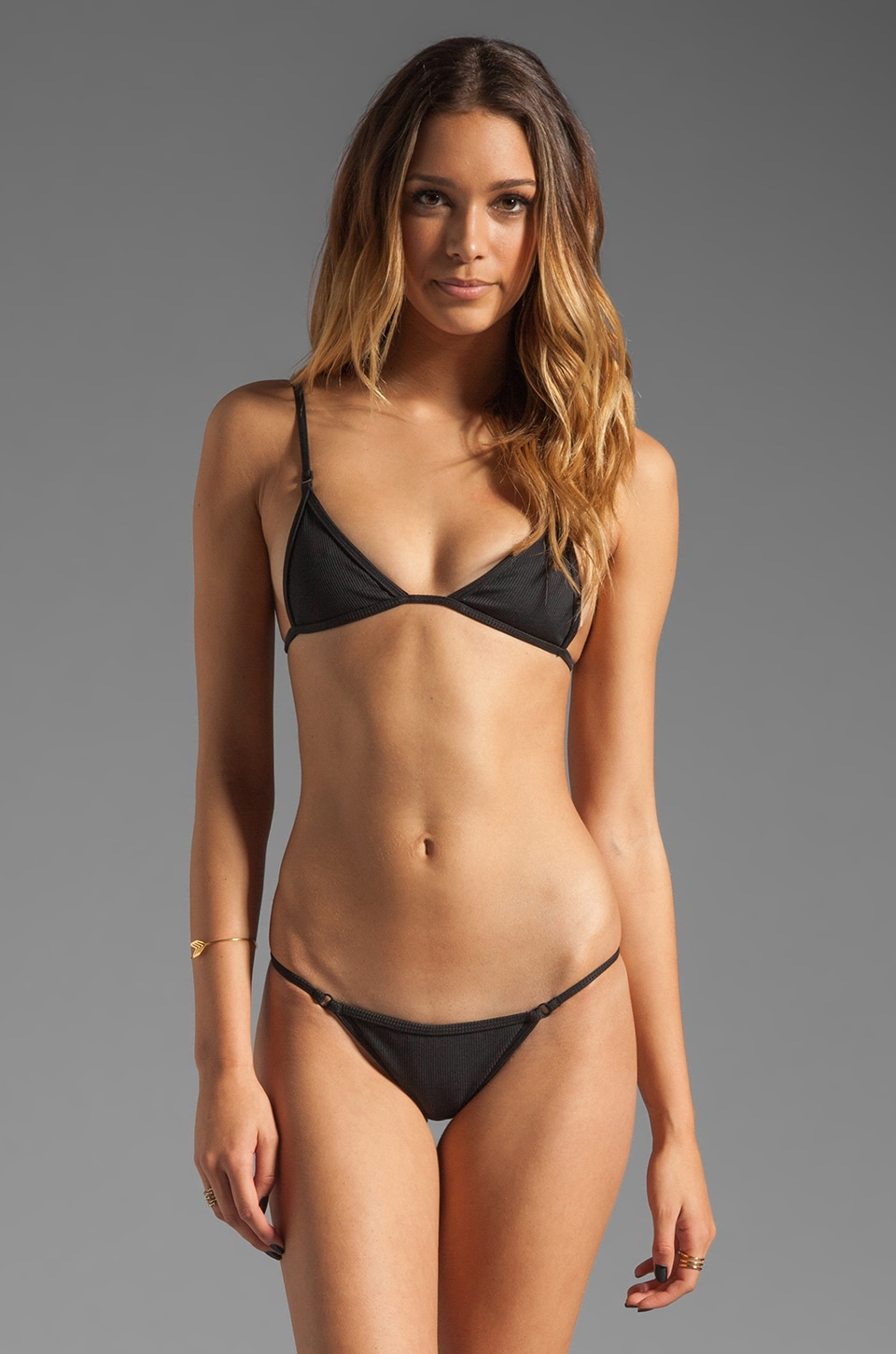 MINIMALE ANIMALE String-Kini in Black Sun Rib