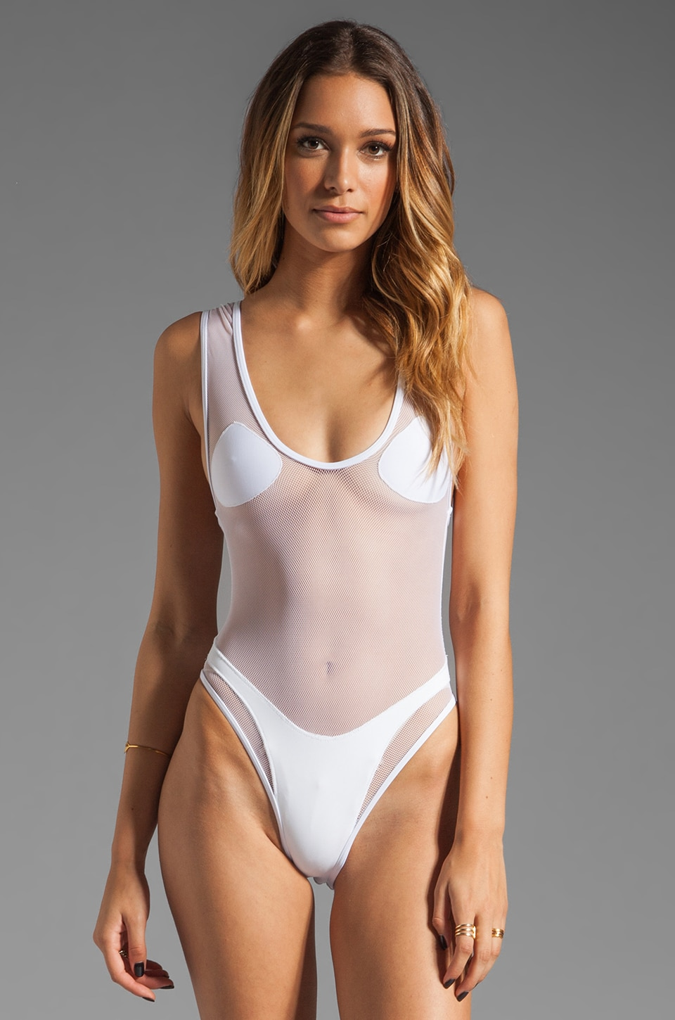MINIMALE ANIMALE Cindy Nouveau One Piece in Blanco with Blanco Mesh