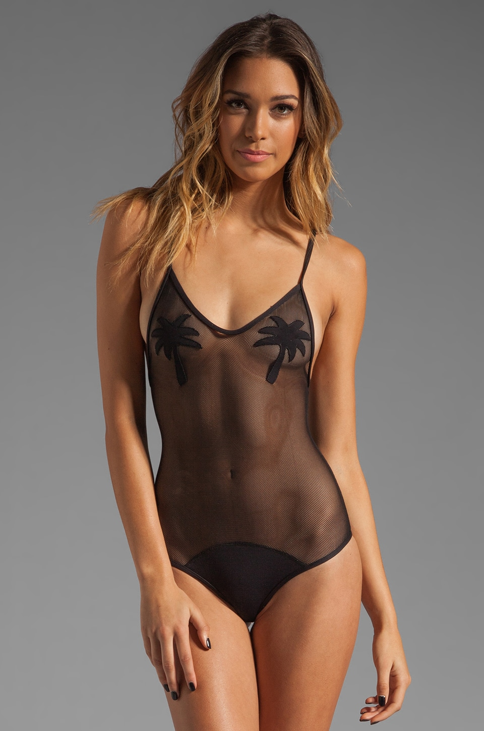 MINIMALE ANIMALE Golden Triangle One Piece in Black Sun with Black Sun Mesh