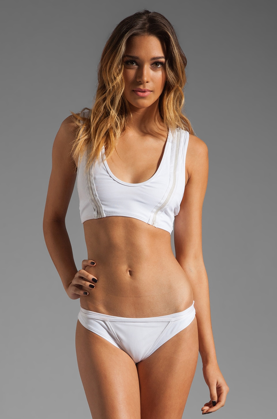 MINIMALE ANIMALE Junk Love Bikini in Blanco Rib with Blanco Mesh Overlay