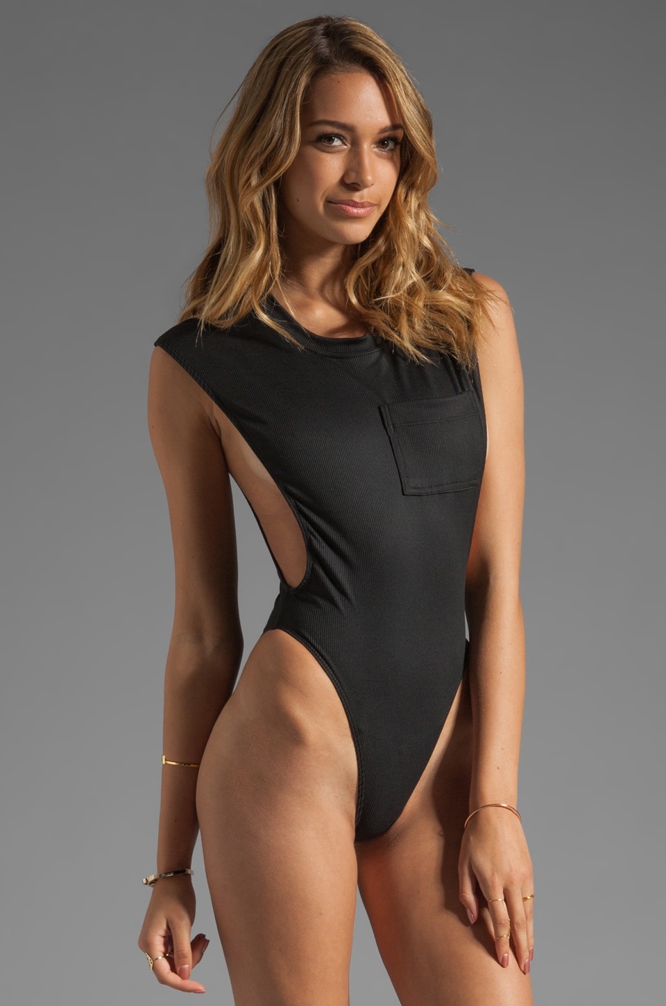 MINIMALE ANIMALE T-Kini One Piece in Black Sun Rib