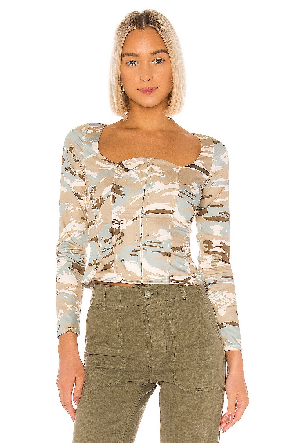 Miaou Devon Blouse in Green Camo