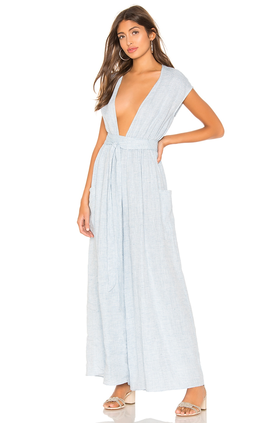 Mara Hoffman Whitney Jumpsuit in White Blue