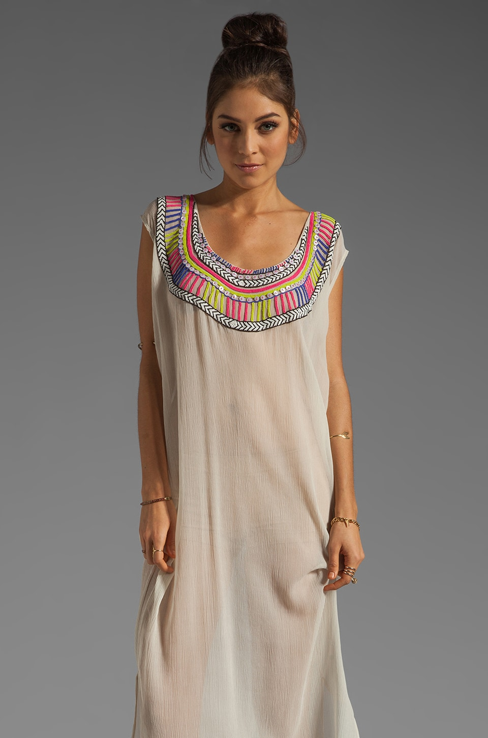 Mara Hoffman Beaded Chiffon Dashiki Maxi Dress in Sand