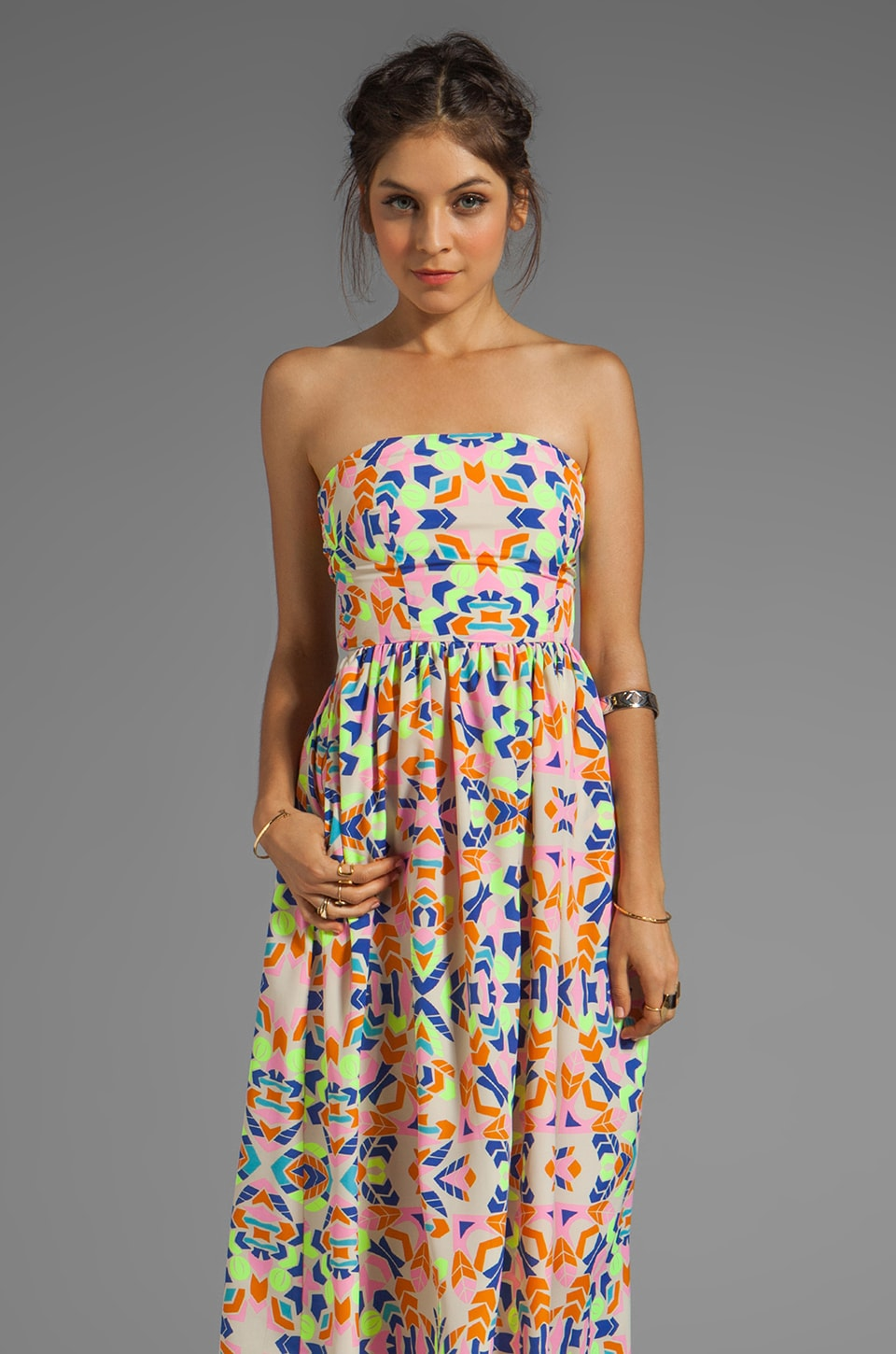 Mara Hoffman Printed Strapless Sun Dress in Aloha Stone