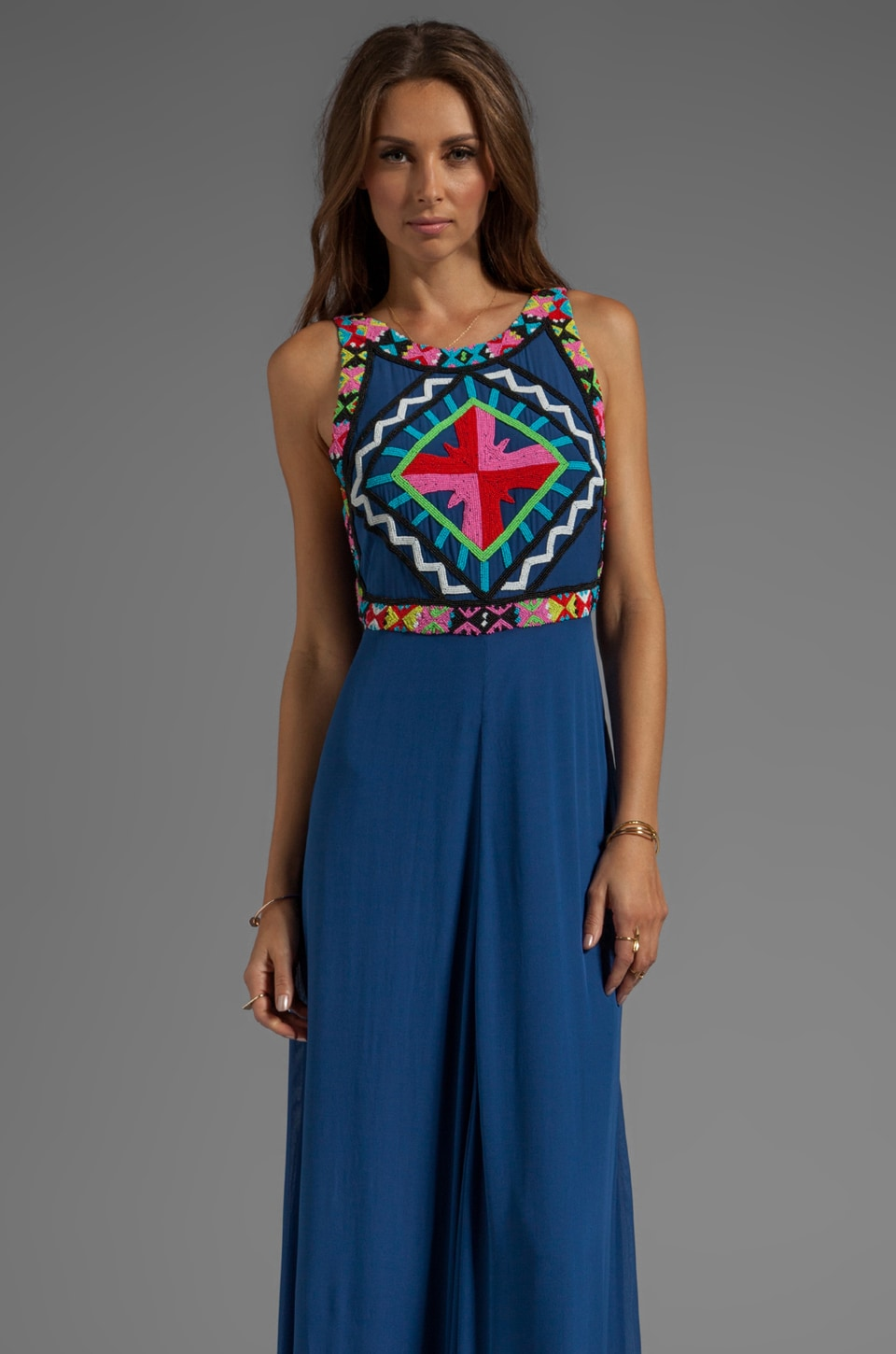 Mara Hoffman Beaded Gown in Denim
