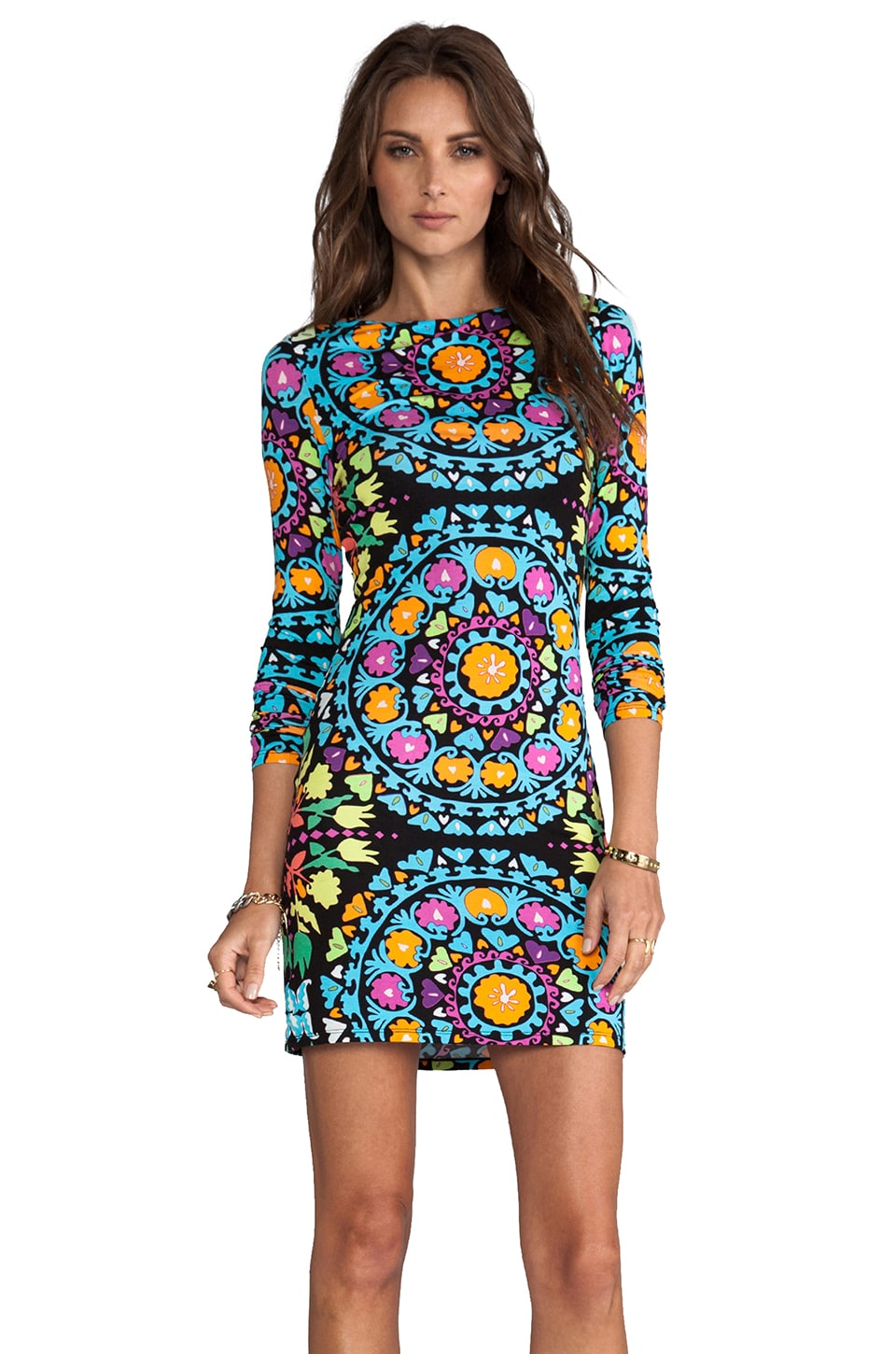 Mara Hoffman Long Sleeve Mini Dress in Suzani Black