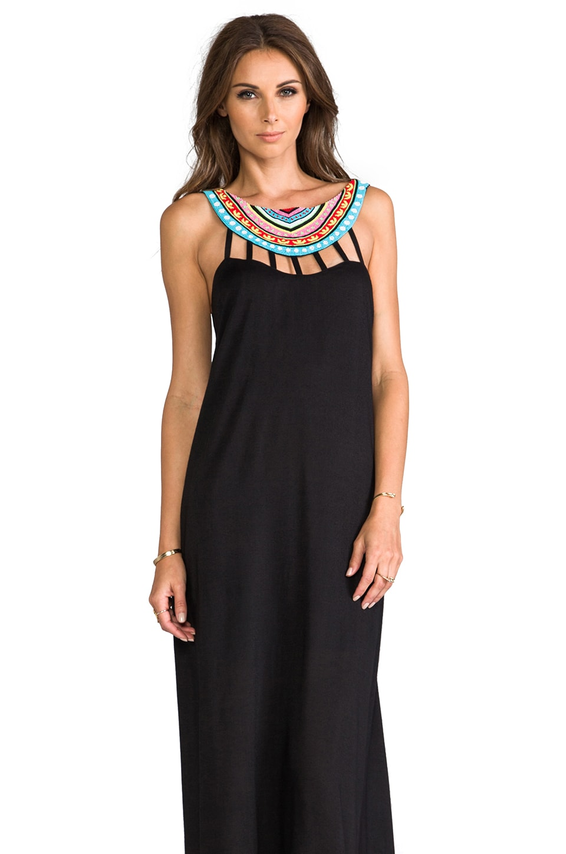 Mara Hoffman Beaded Neck Maxi Dress in Black