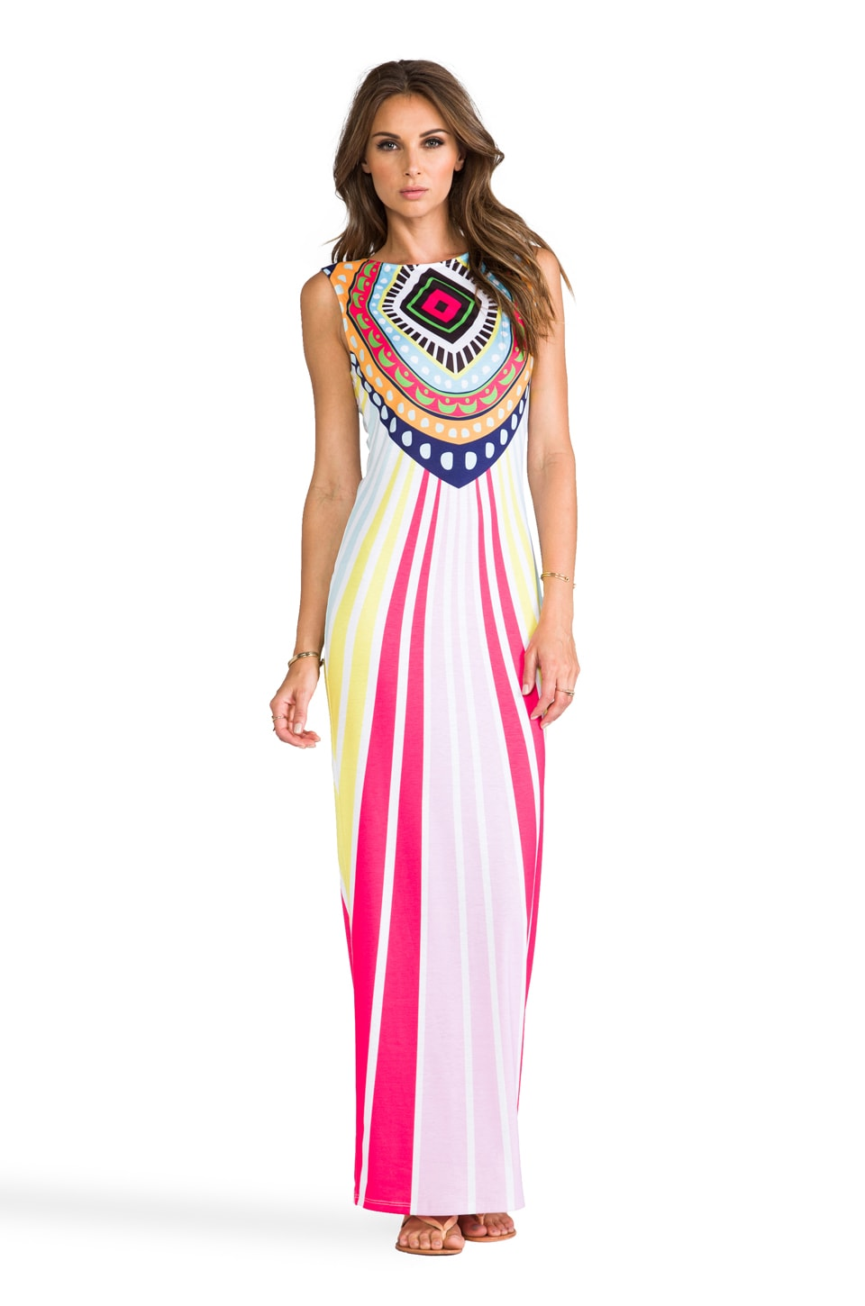 Mara Hoffman Jersey Fitted Maxi Dress in Rays Pink
