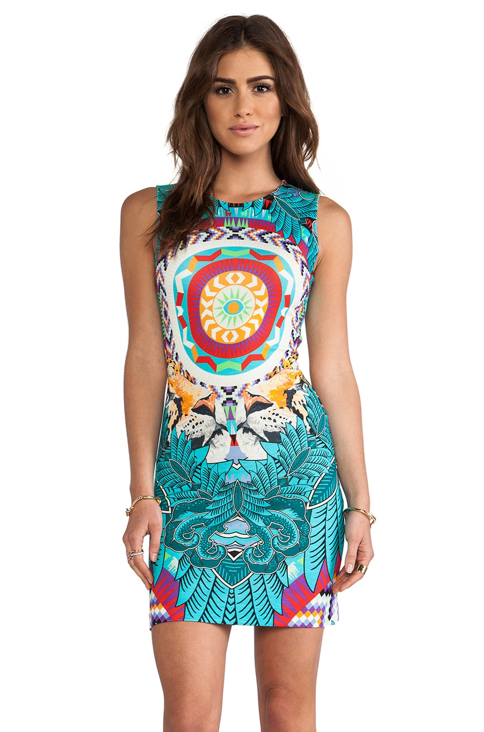 Mara Hoffman Fitted Mini Dress in Jungle Trip Turquoise