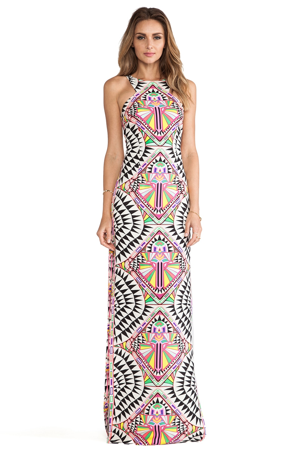 Mara Hoffman High Neck Column Dress in Cosmic Fountain Black