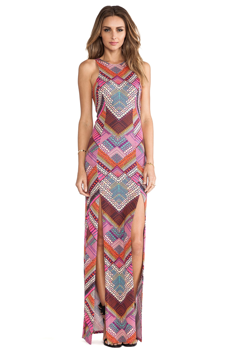 Mara Hoffman High Slit Maxi Dress in Kasuri Pink