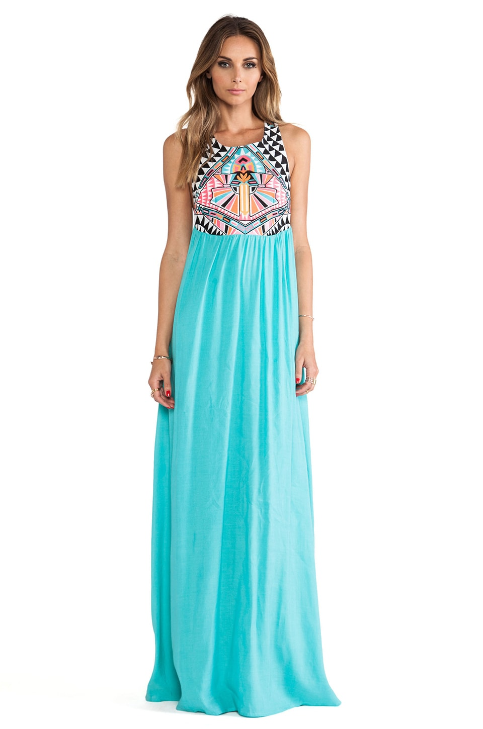 Mara Hoffman Embriodered Maxi Dress in Turquoise