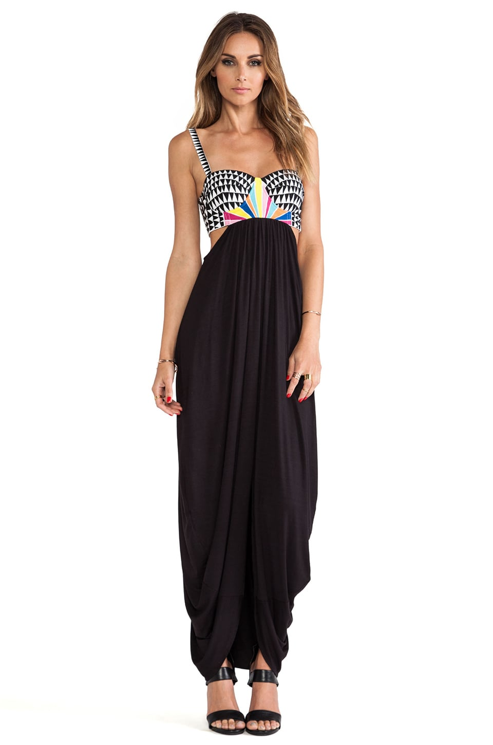Mara Hoffman Embroidered Bustier Dress in Black