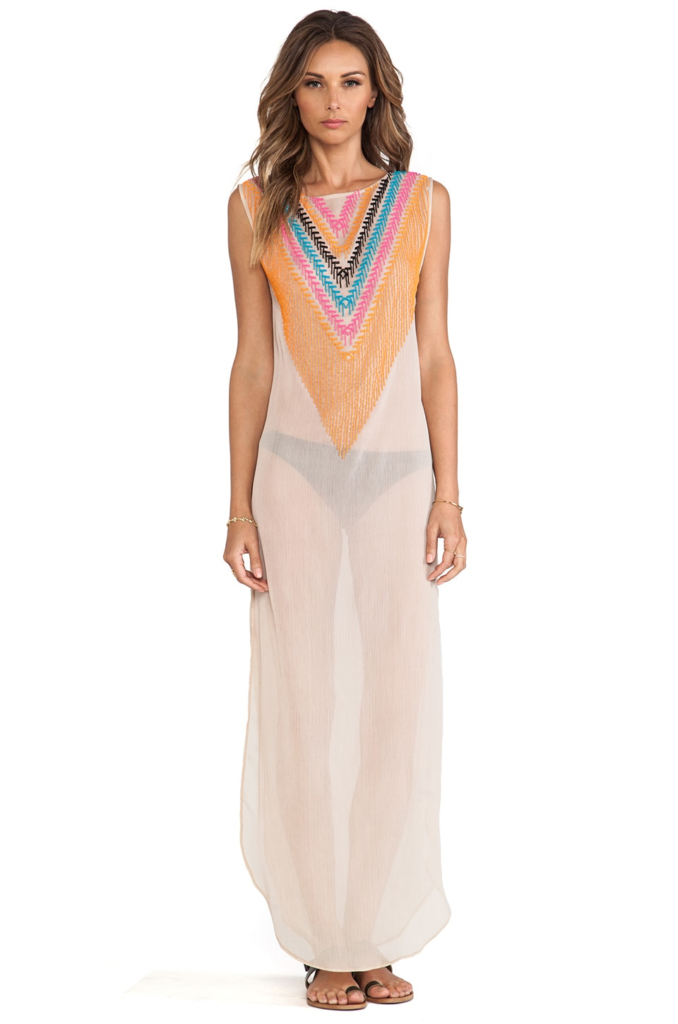 Mara Hoffman Chiffon Beaded Dashiki in Stone