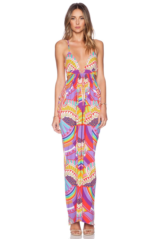 Mara Hoffman Triangle Cut Out Maxi Dress in Rainbow Bird Lilac