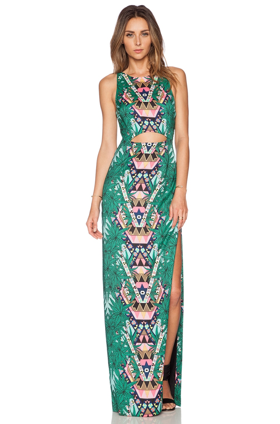 Mara Hoffman Cut Out Column Maxi Dress in Maristar Green | REVOLVE