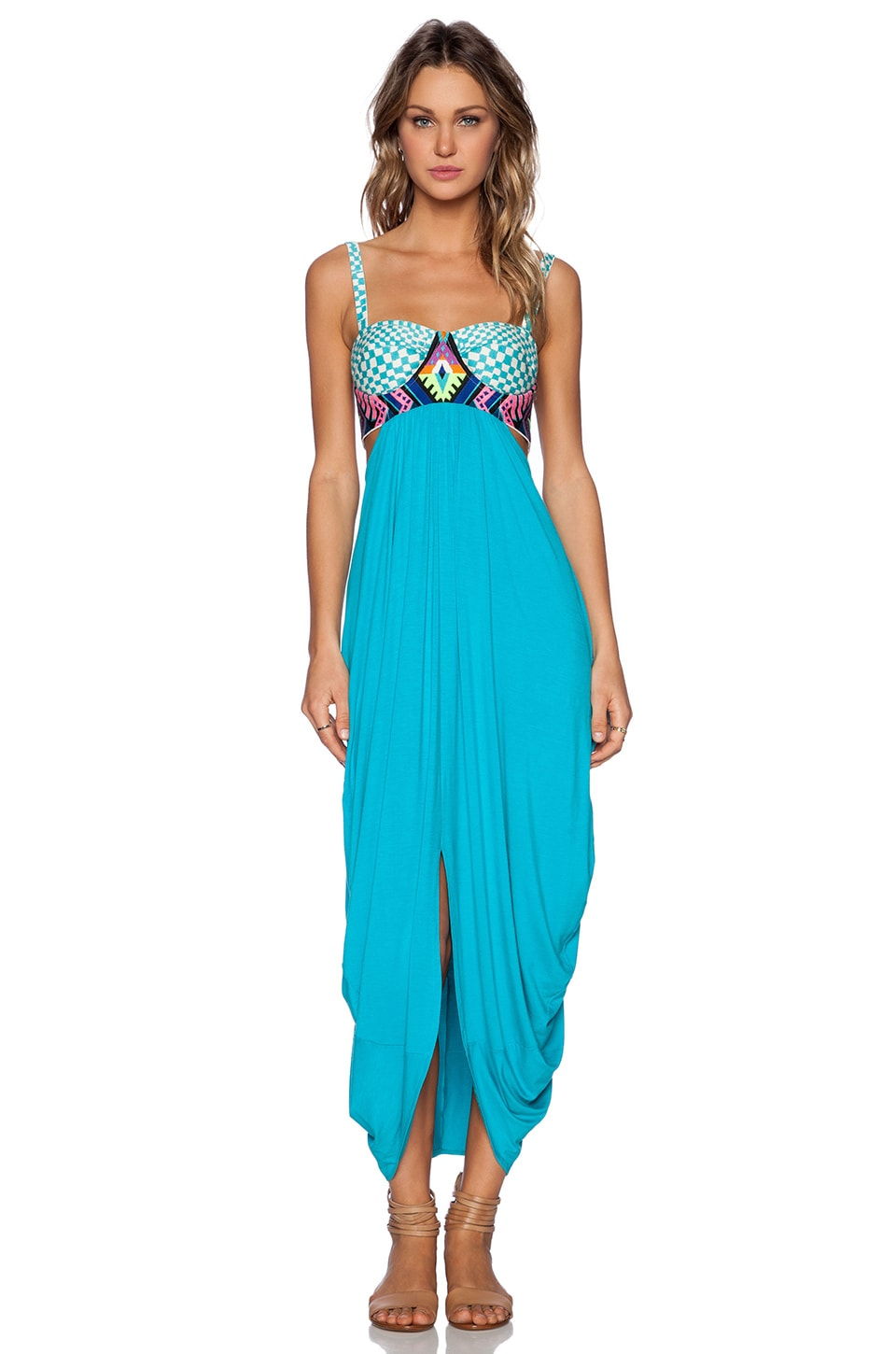 Mara Hoffman Embroidered Maxi Dress in Turqouise | REVOLVE