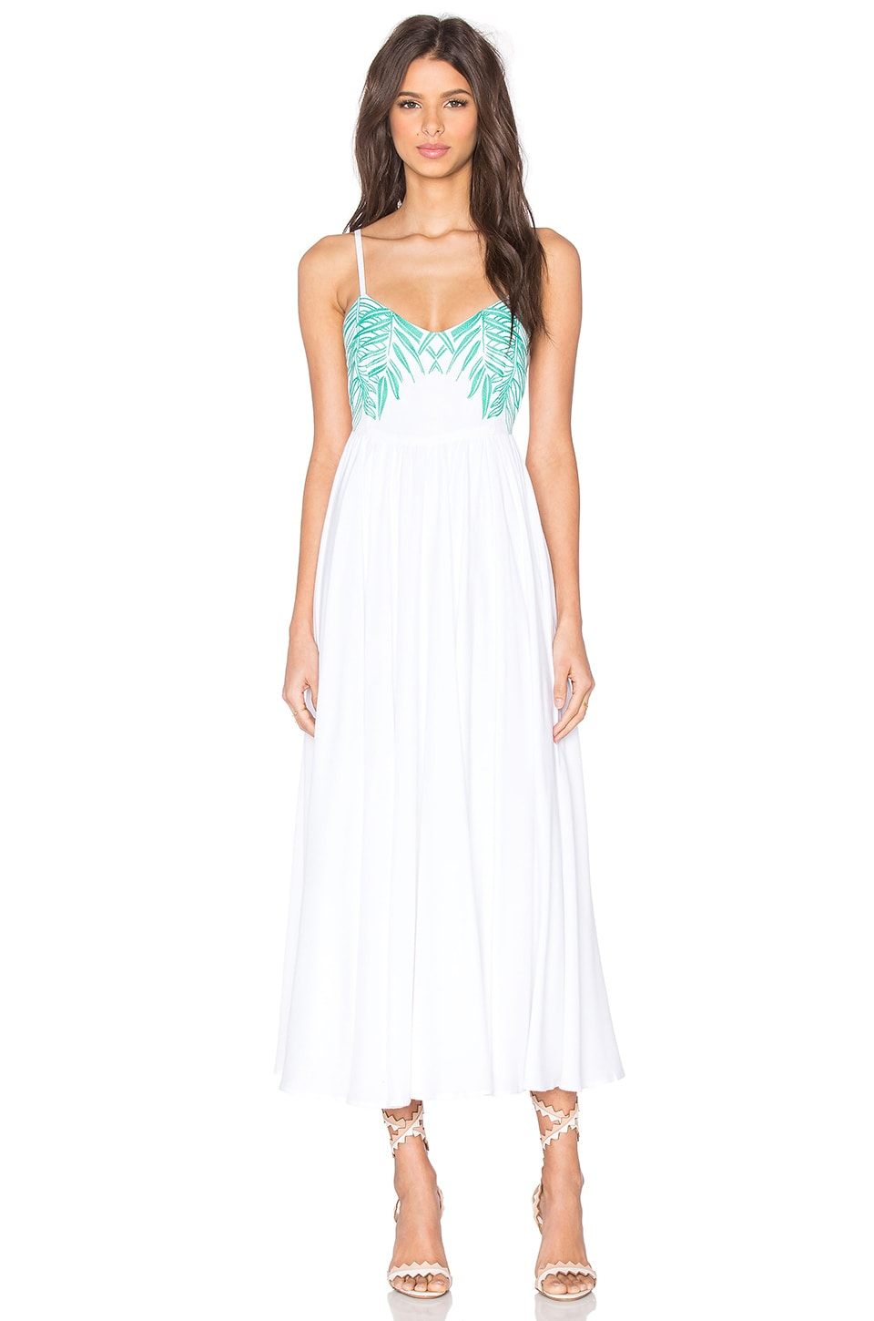 Mara Hoffman Leaf Embroidered Tie Back Dress in White