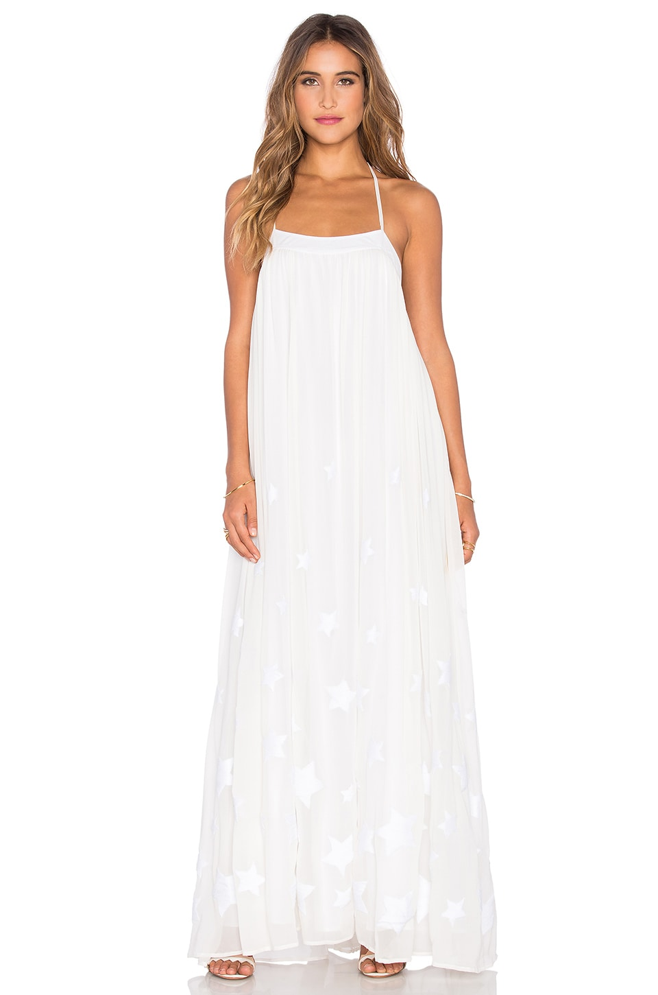 Mara Hoffman Low Back Maxi Dress in Star Embroidered Chiffon