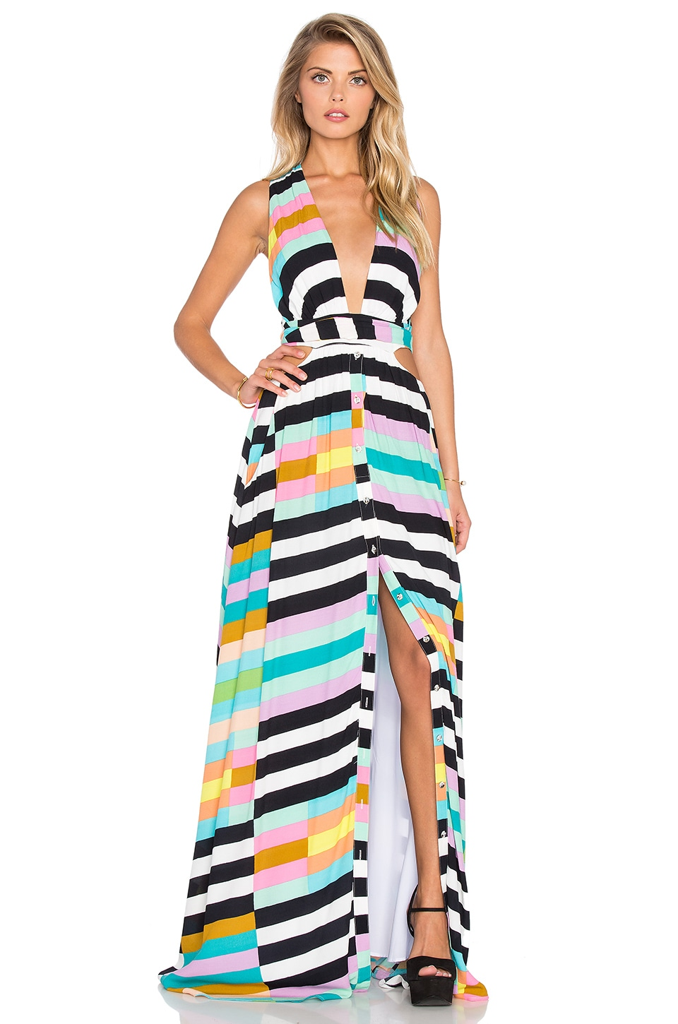 Mara Hoffman Wrap Top Maxi Dress In Flag Stripe Rainbow