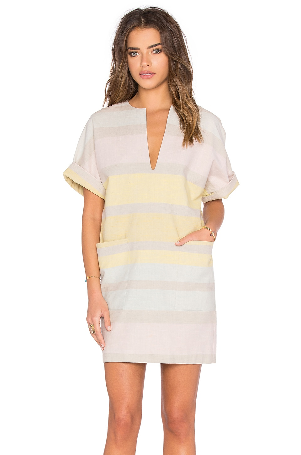 Mara Hoffman Pockets Mini Dress in Gradient Stripe