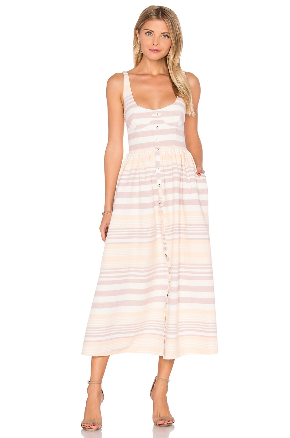 Mara Hoffman Button Front Midi Dress in Sand Stripe