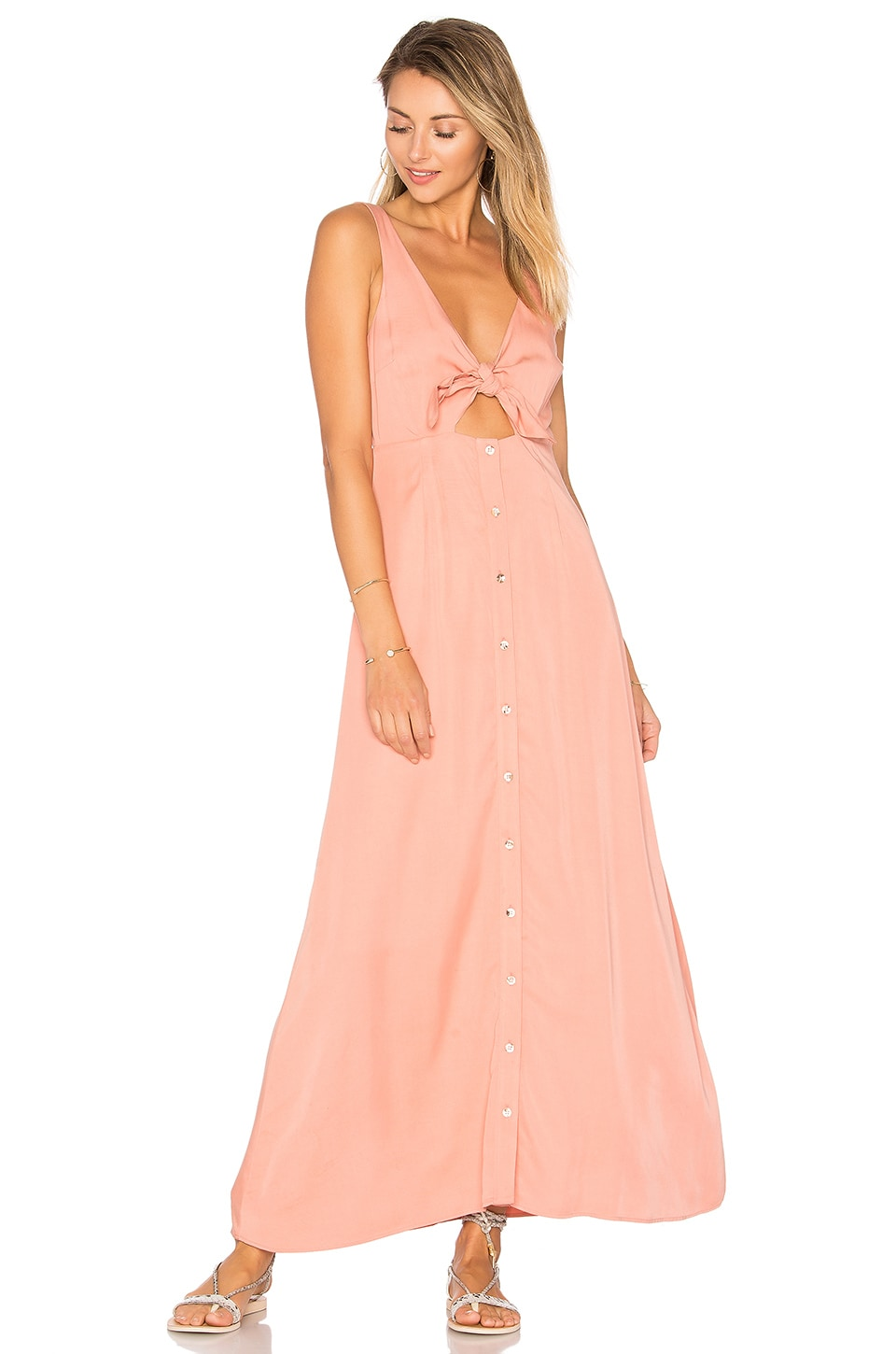 Mara Hoffman Tie Front Midi Dress in Apricot