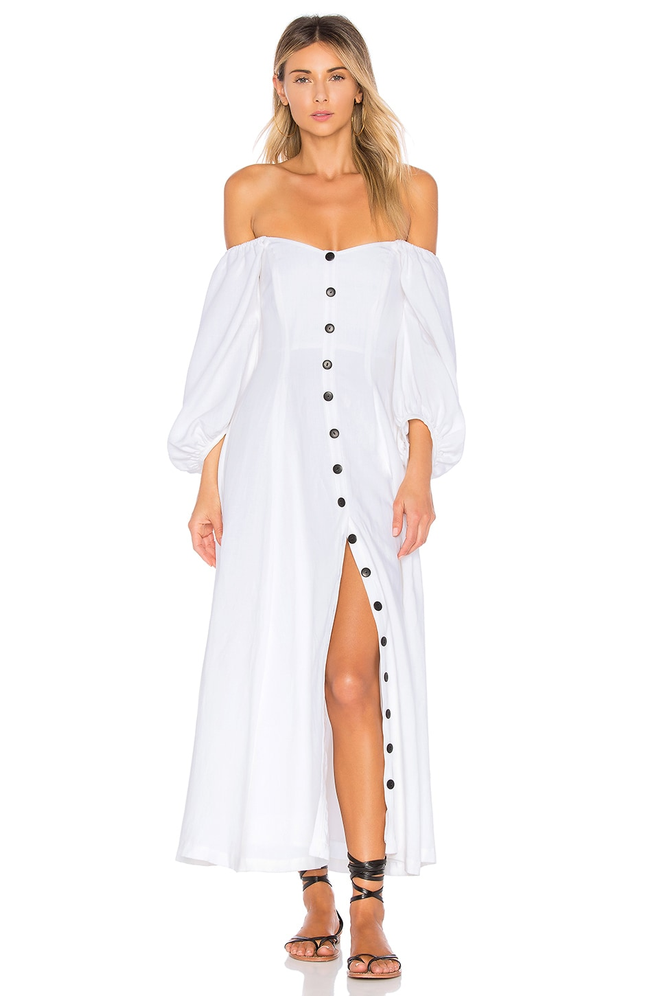 Mara Hoffman Mika Off-the-shoulder Tencel And Linen-blend Midi Dress In White
