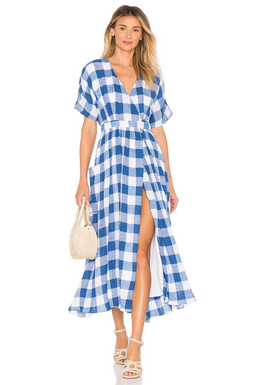 Mara Hoffman Ingrid Dress in White & Blue Plaid